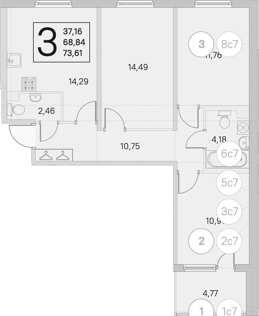 3-комнатная квартира, 68.84 м², 1 этаж – Планировка