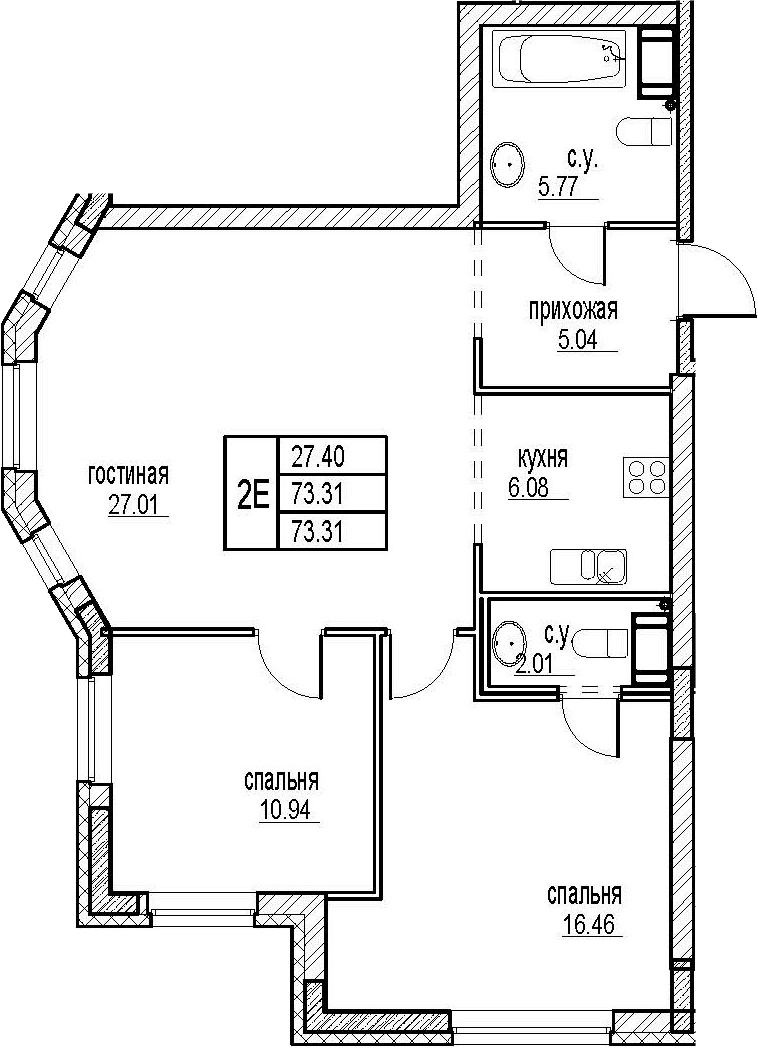 3Е-комнатная, 73.31 м²– 2