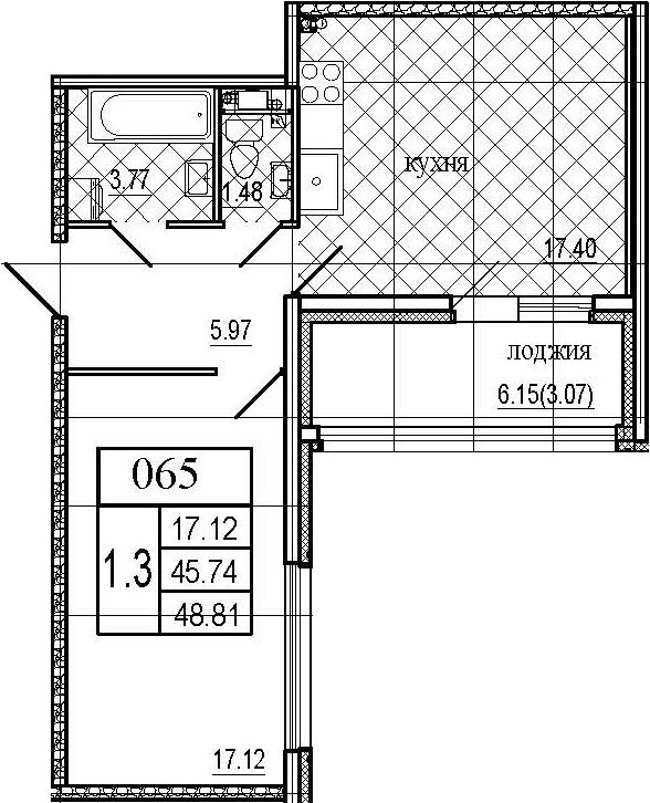 2Е-комнатная, 48.81 м²– 2