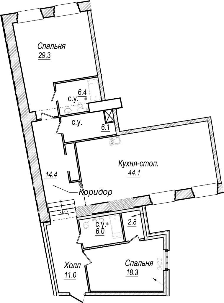 3-к.кв (евро), 138.4 м²