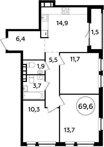 4Е-комнатная, 69.6 м²– 2