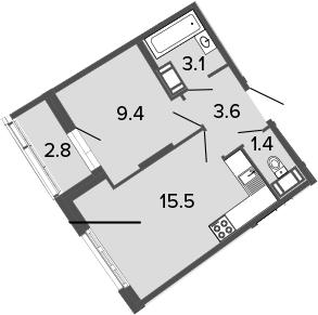 2-к.кв (евро), 35.8 м²