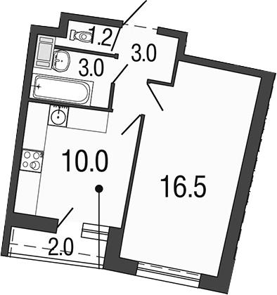 1-к.кв, 33.7 м², 5 этаж