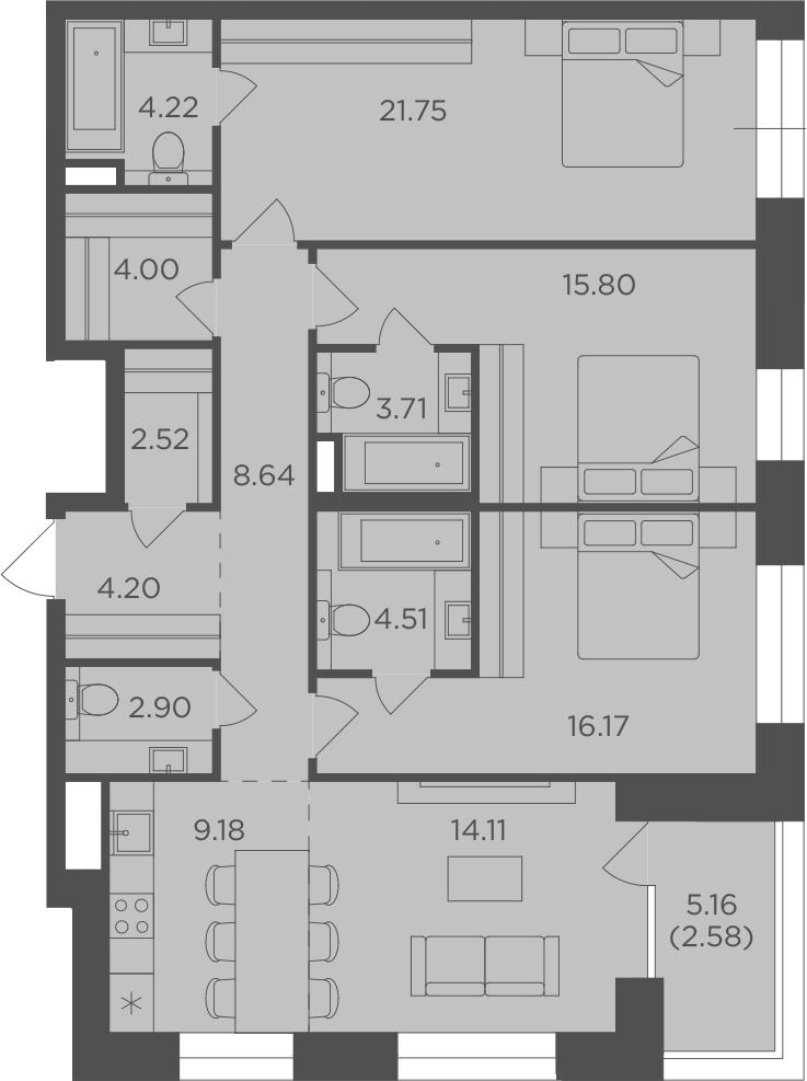 4Е-к.кв, 114.29 м²