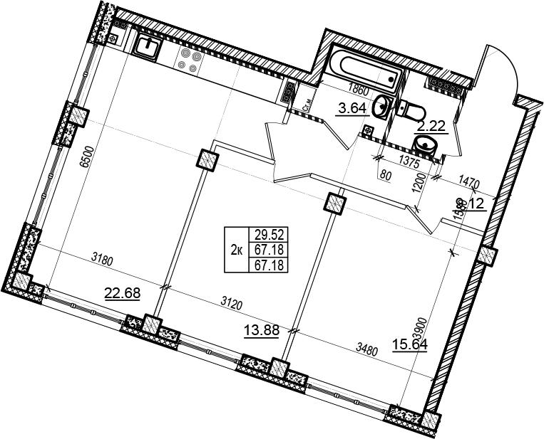 3Е-комнатная, 67.18 м²– 2