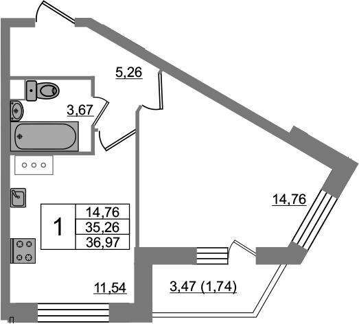 1-комнатная, 36.97 м²– 2