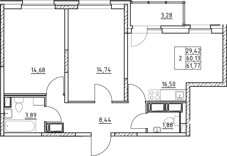 3-к.кв (евро), 63.41 м²