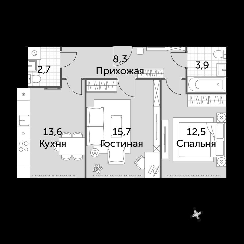 2-к.кв, 56.7 м², от 6 этажа