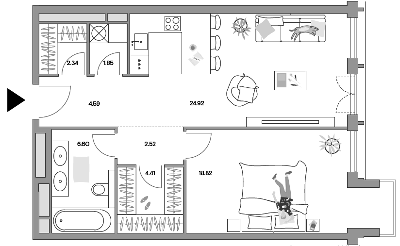 2Е-комнатная, 65.66 м²– 2