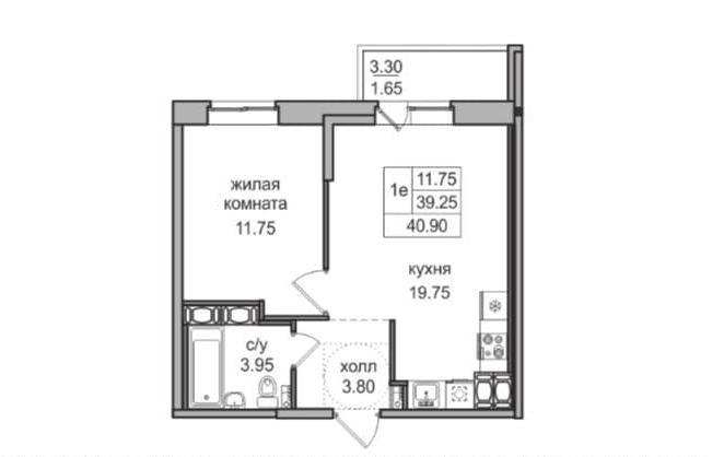 2Е-комнатная, 39.25 м²– 2