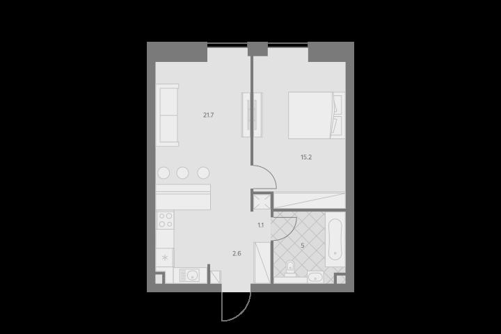 2Е-комнатная, 45.6 м²– 2