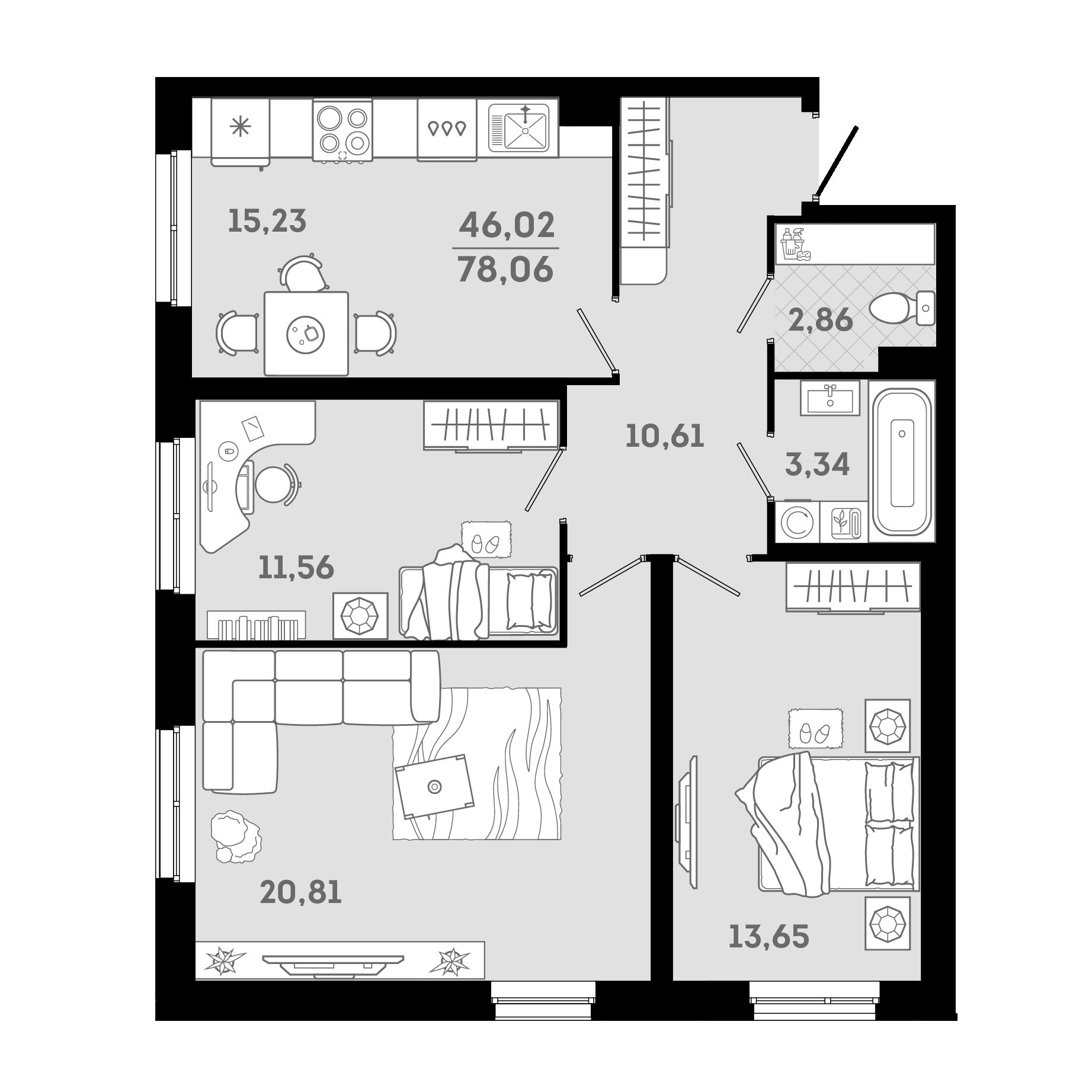 4Е-к.кв, 78.06 м²