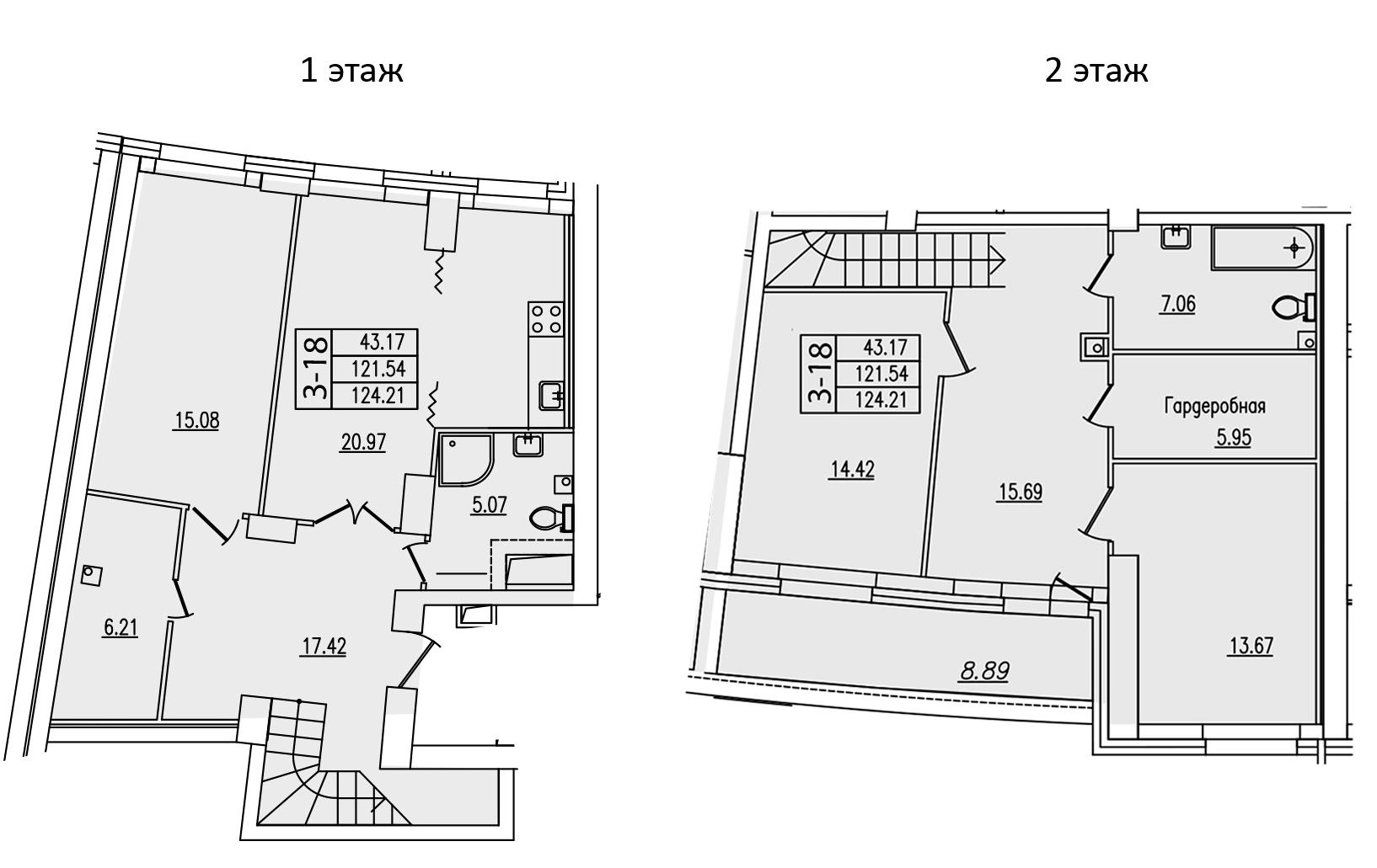 5Е-комнатная, 124.21 м²– 2