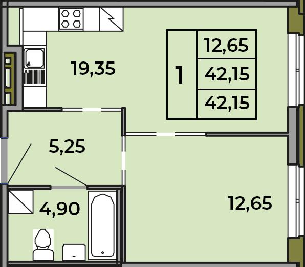2Е-комнатная, 42.15 м²– 2
