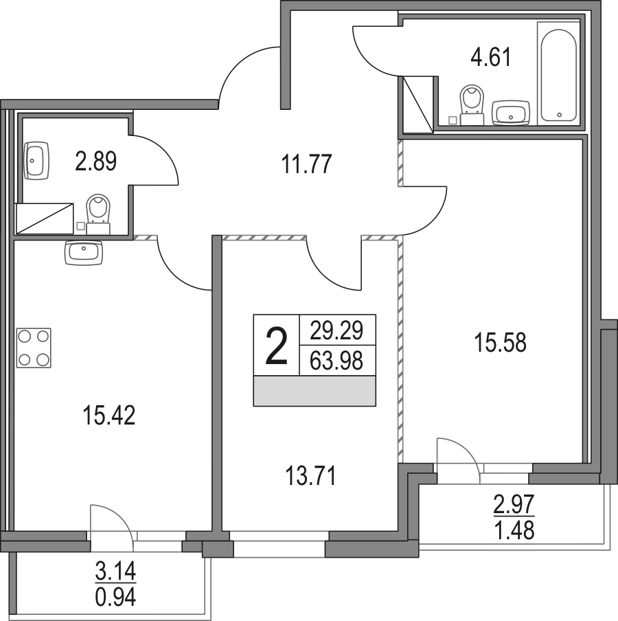 3Е-к.кв, 63.98 м², от 12 этажа