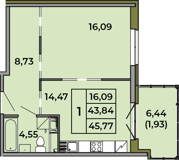 1-комнатная, 43.84 м²– 2