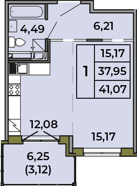 Студия, 37.95 м², 3 этаж