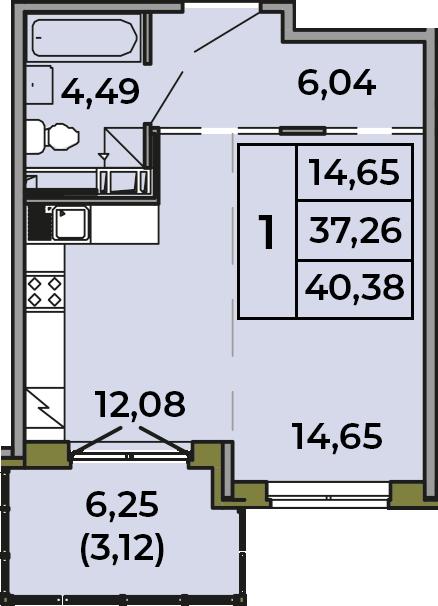Студия, 37.26 м², 2 этаж