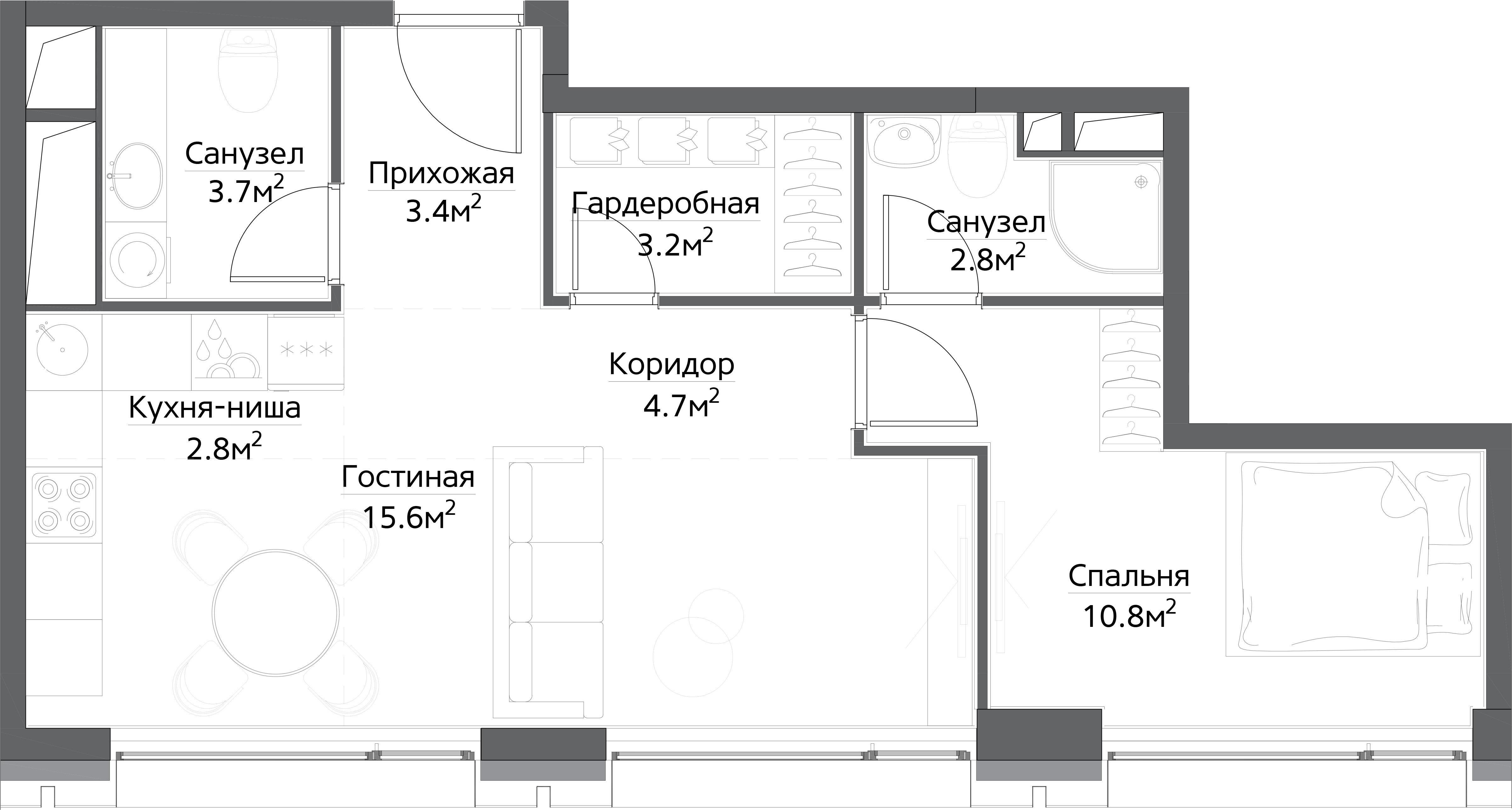 2-к.кв (евро), 47 м²