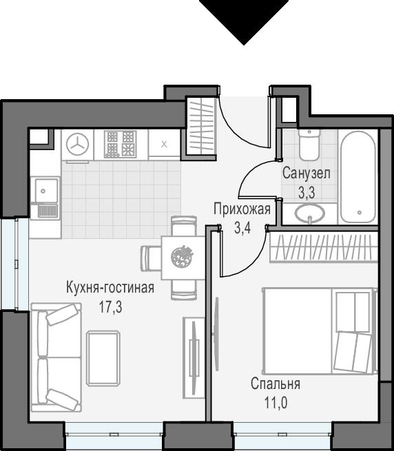 2Е-к.кв, 35 м², 3 этаж