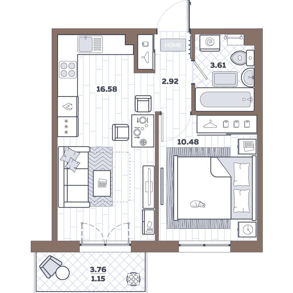 2-к.кв (евро), 37.42 м²
