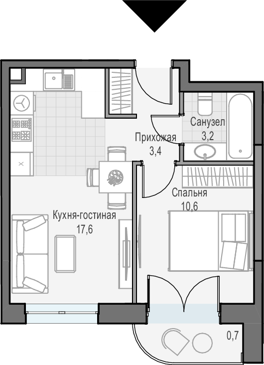 2Е-к.кв, 35.5 м², 18 этаж
