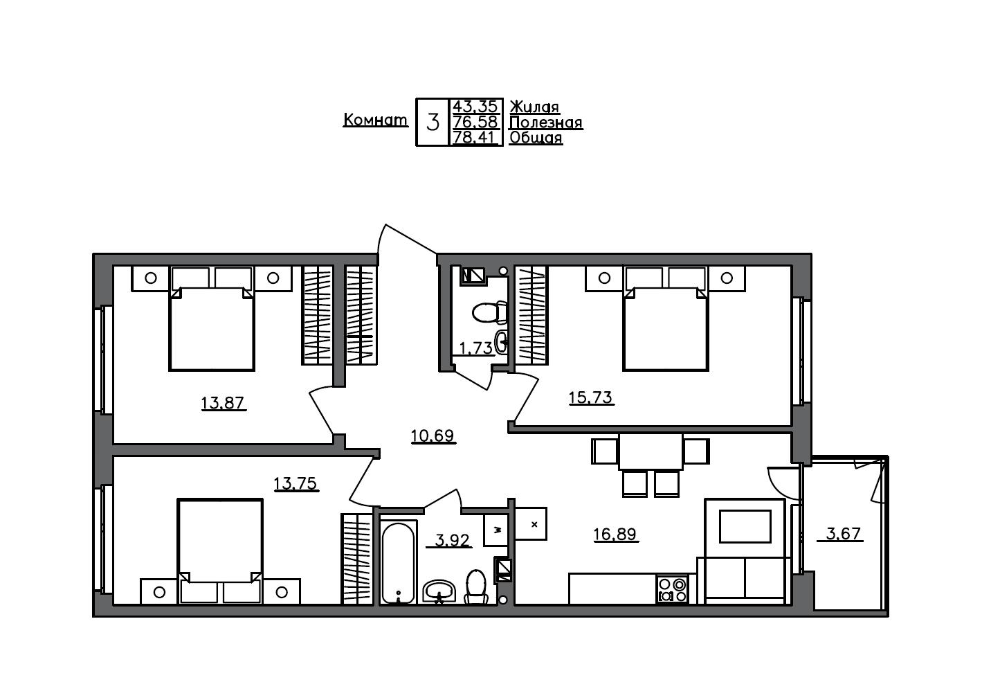 4Е-к.кв, 78.41 м²