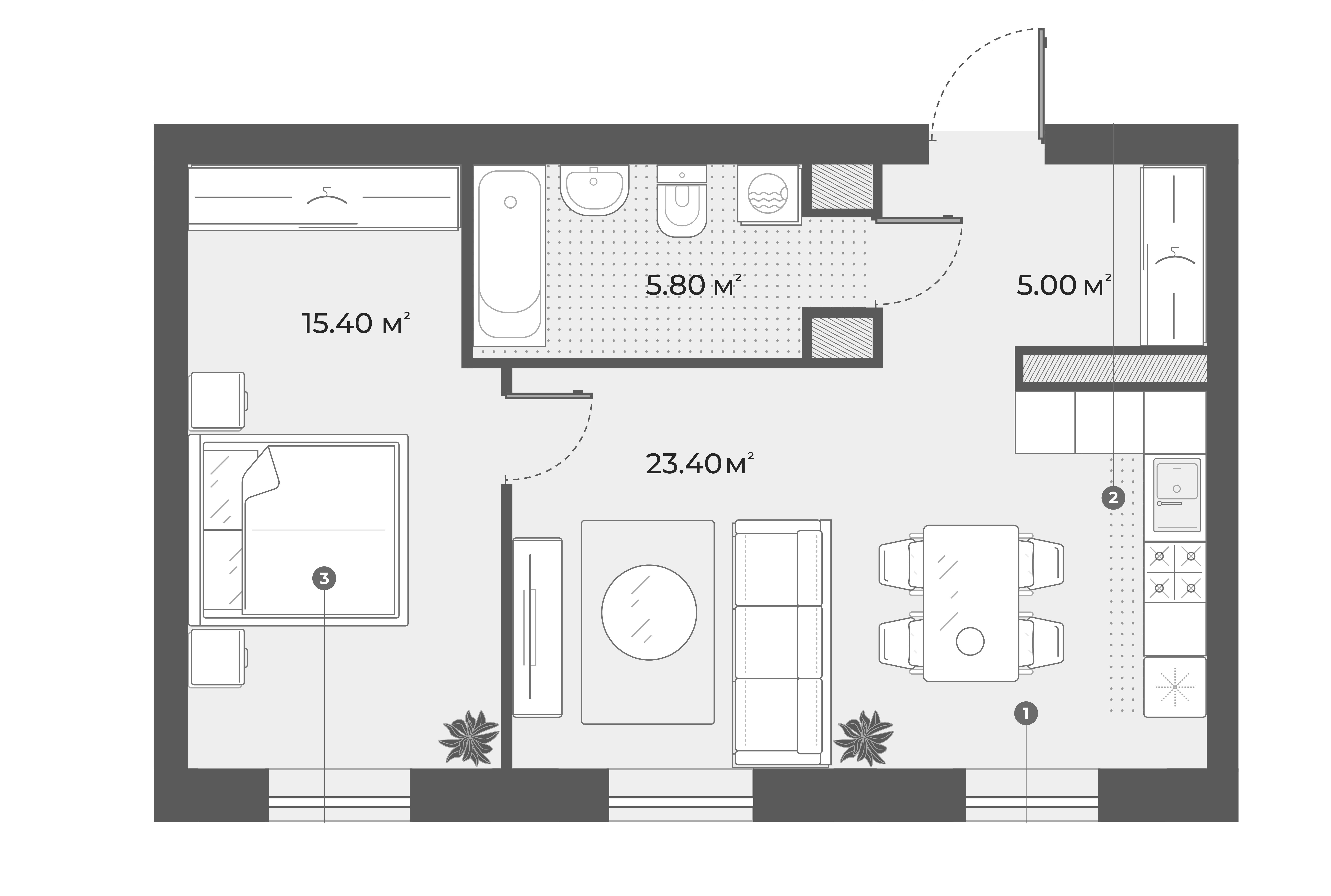 2Е-к.кв, 49.6 м², 5 этаж