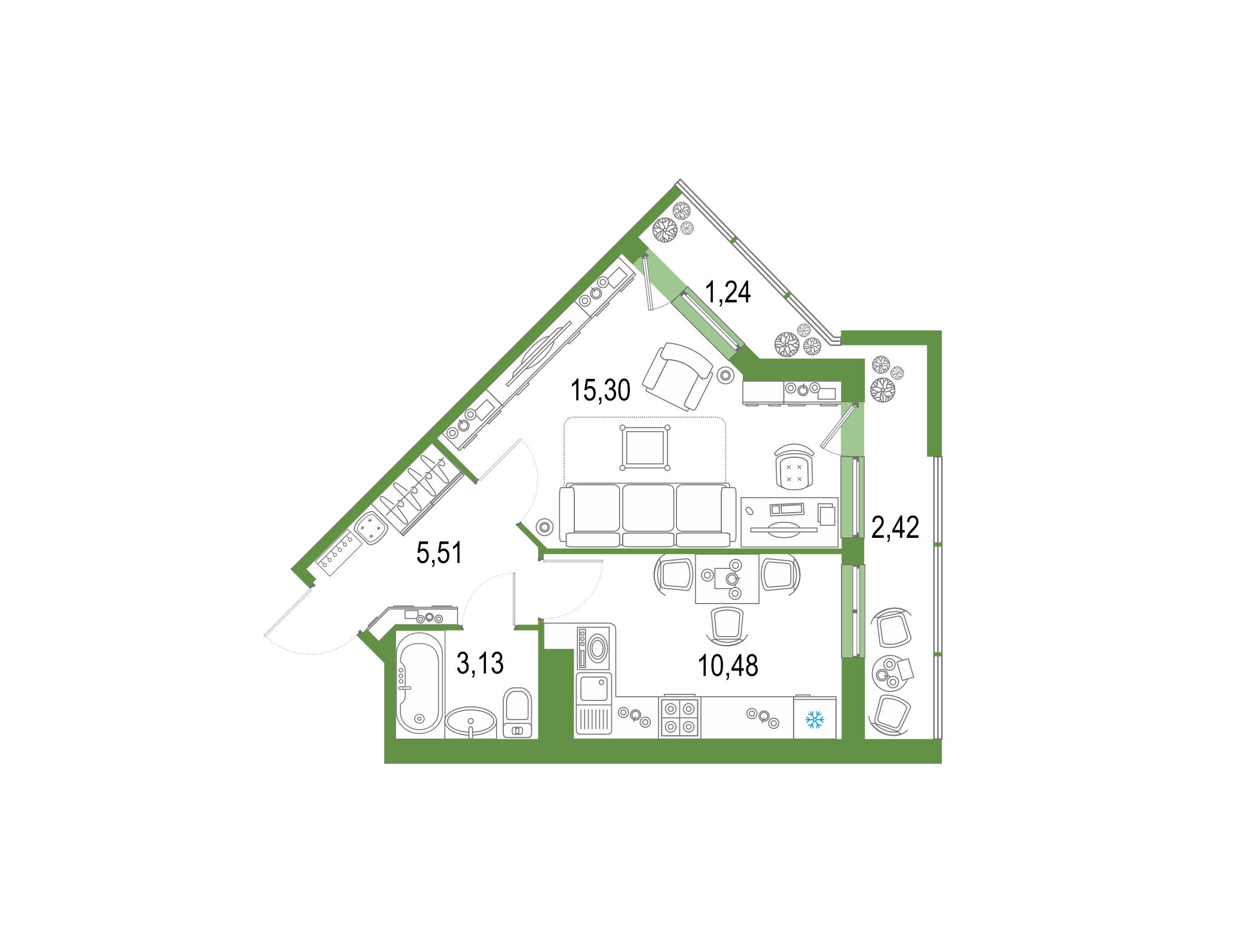 1-к.кв, 37.97 м², 21 этаж