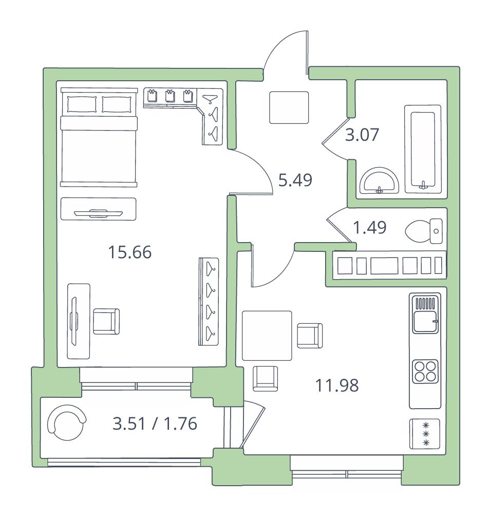 1-комнатная квартира, 39.45 м², 13 этаж – Планировка