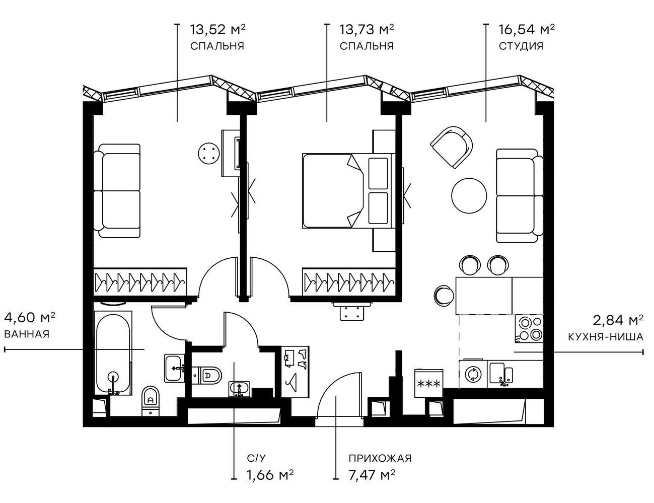 3Е-комнатная, 60.18 м²– 2