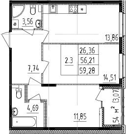 2-к.кв, 56.21 м²