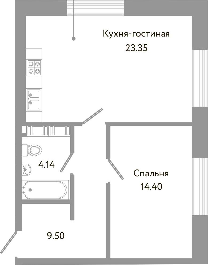 2-к.кв (евро), 51.39 м²