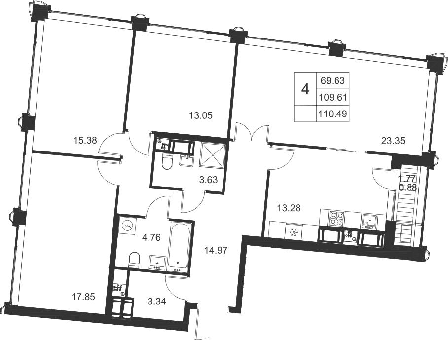4-комнатная, 110.49 м²– 2