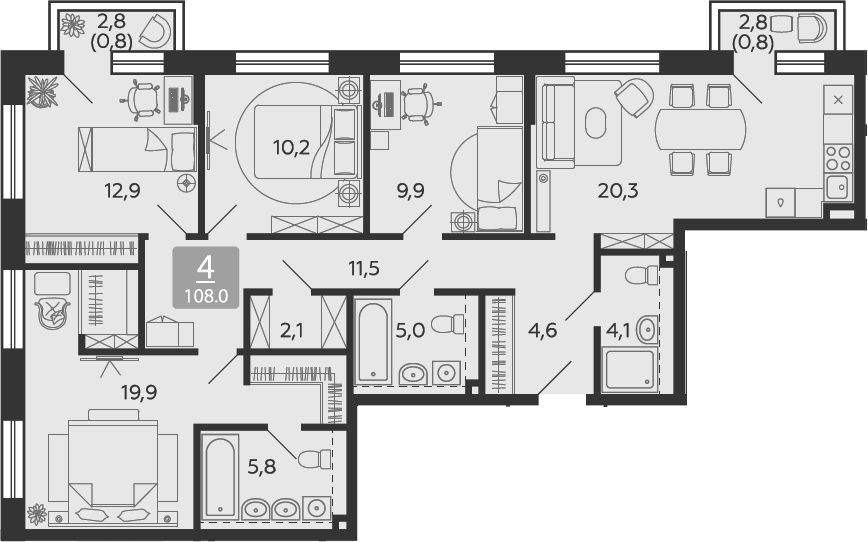 5Е-к.кв, 107.9 м²
