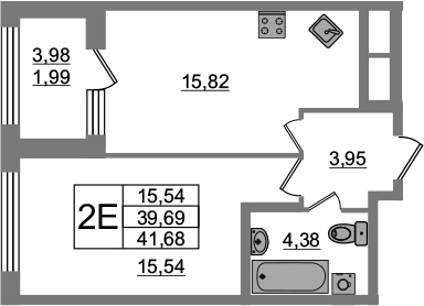 2-к.кв (евро), 43.67 м²