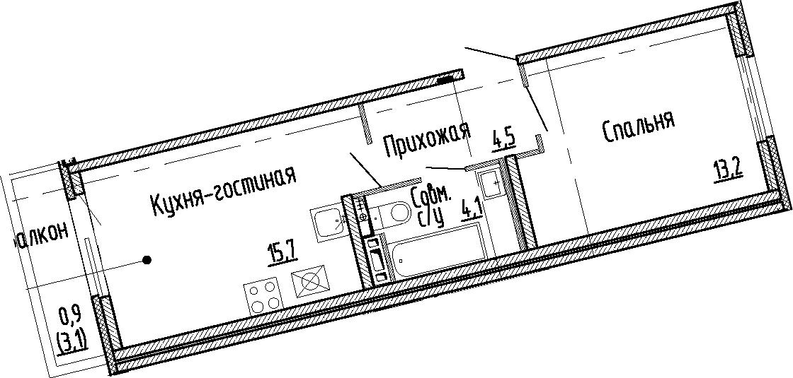 2Е-к.кв, 37.5 м², 3 этаж