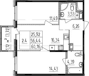 3Е-к.кв, 56.44 м², 5 этаж