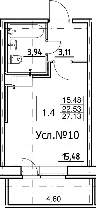 Студия, 22.53 м², 8 этаж