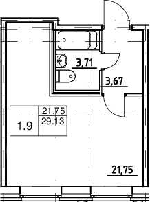Студия, 29.13 м²– 2