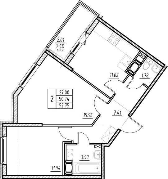 2-к.кв, 50.74 м²
