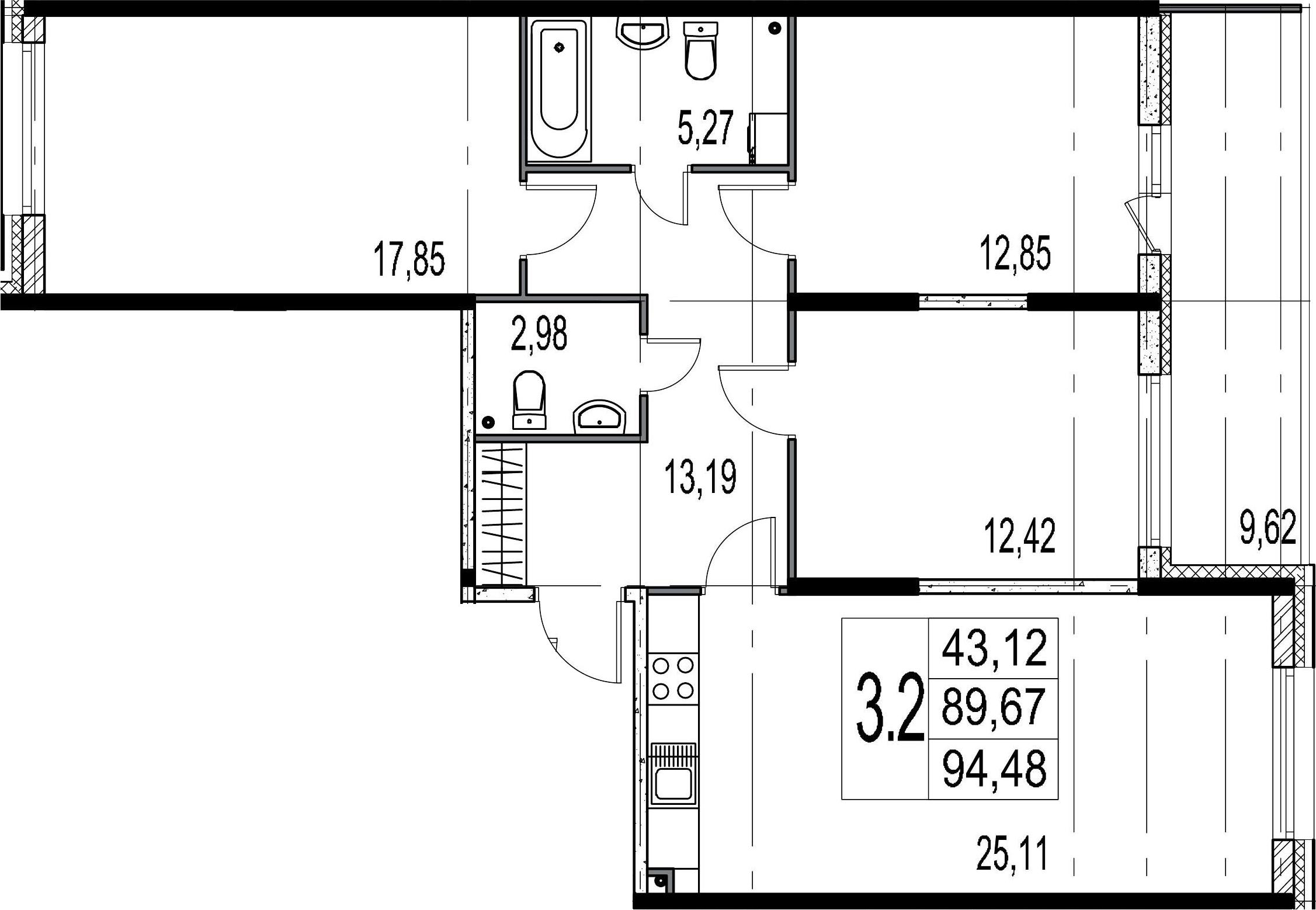 4Е-комнатная, 89.67 м²– 2