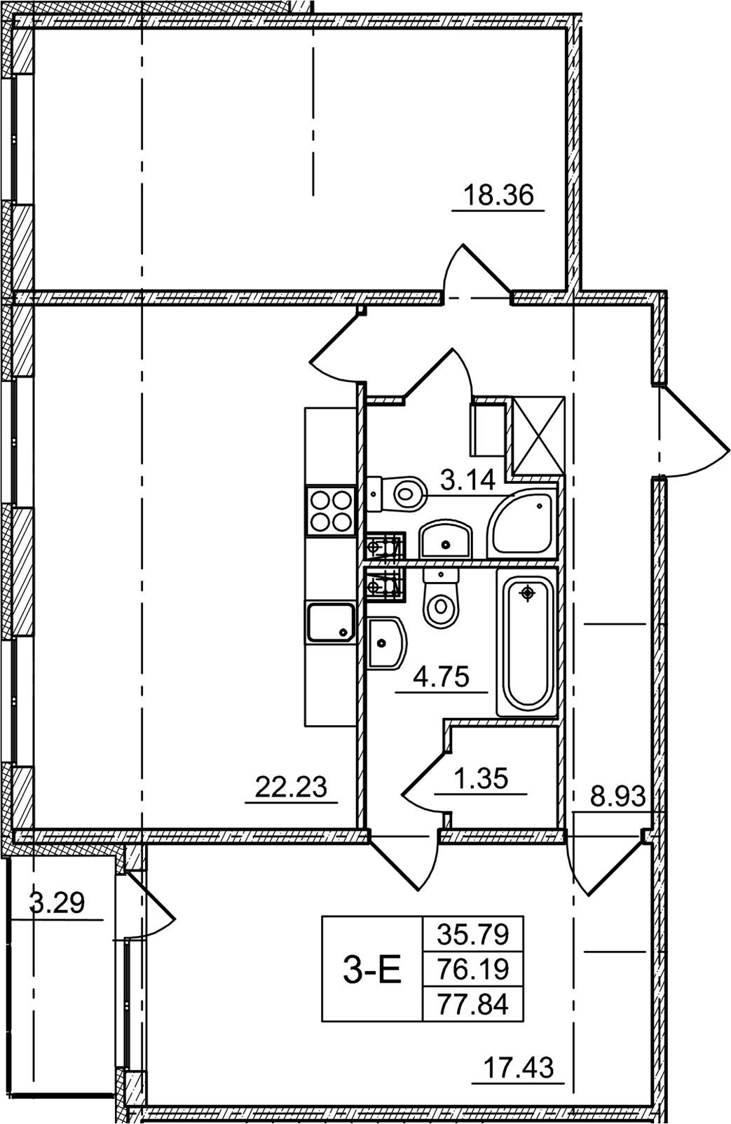 3Е-комнатная, 76.19 м²– 2