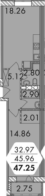 2-к.кв (евро), 48.62 м²