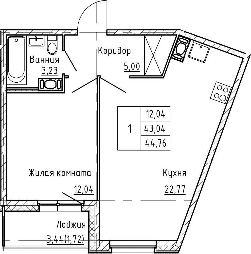 2Е-к.кв, 44.76 м², от 4 этажа