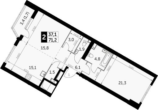 2-к.кв, 72.9 м²