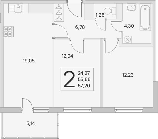 3Е-к.кв, 55.66 м², от 3 этажа