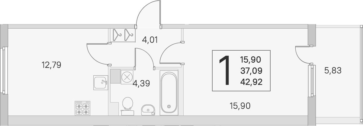 1-к.кв, 37.09 м², 3 этаж