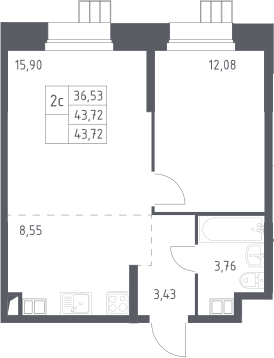 2Е-к.кв, 43.72 м², 2 этаж