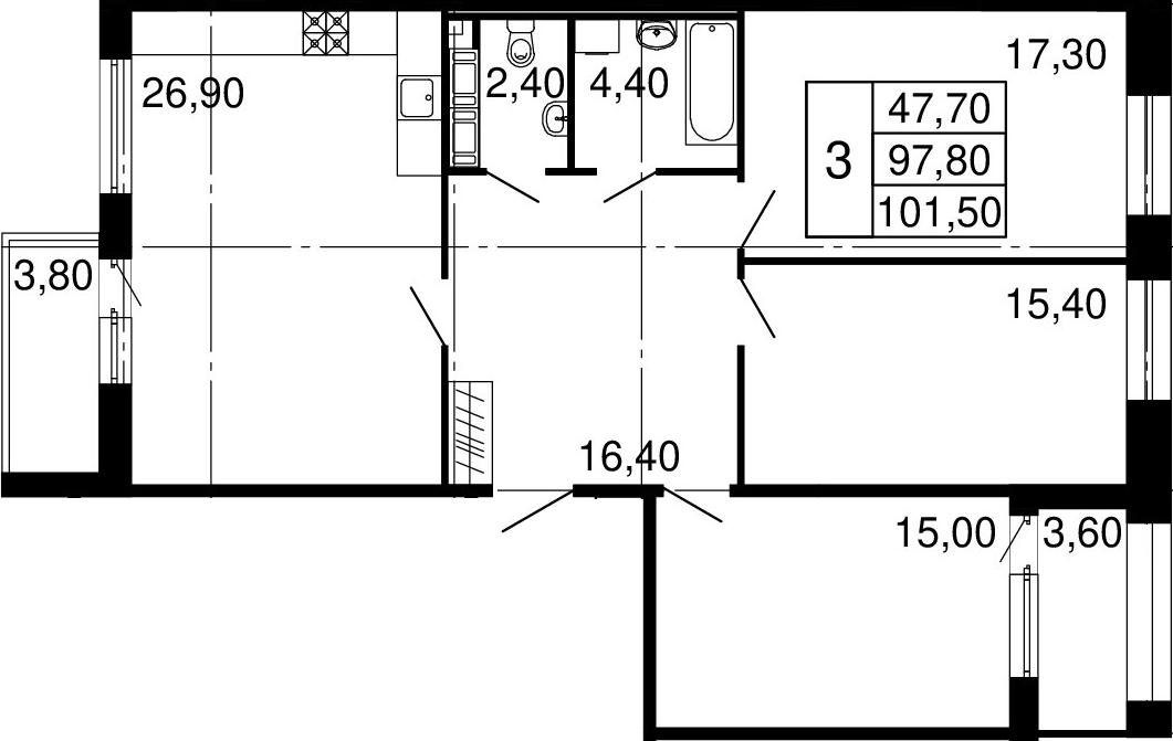 4-к.кв (евро), 105.2 м²